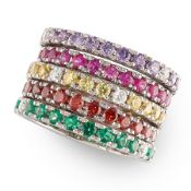 A MULTICOLOURED GEMSET BAND RING in white and yellow gold, comprising of five bands set with
