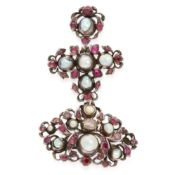 AN ANTIQUE PEARL AND RUBY GIRANDOLE BROOCH suspending a cross, set with grey pearls and oval and