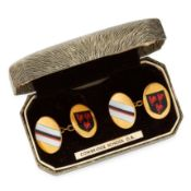 A PAIR OF ENAMEL COWBRIDGE SCHOOL CUFFLINKS comprising of two oval faces set with the Cowbridge