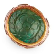 AN ANTIQUE EMERALD, DIAMOND AND ENAMEL RING, INDIAN in high carat yellow gold, set with a Mughal