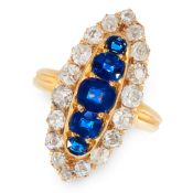 AN ANTIQUE SAPPHIRE AND DIAMOND RING, LATE 19TH CENTURY in high carat yellow gold, the navette