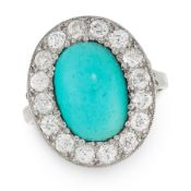 A TURQUOISE AND DIAMOND CLUSTER RING, EARLY 20TH CENTURY set with an oval cabochon turquoise of 4.71