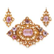 AN ANTIQUE PINK TOPAZ AND PEARL BROOCH AND EARRINGS SUITE, 19TH CENTURY in high carat yellow gold,