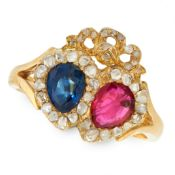 A RUBY, SAPPHIRE AND DIAMOND SWEETHEART RING in 18ct yellow gold, designed as two interlocking