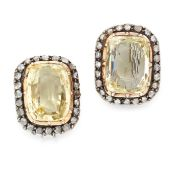 A PAIR OF ANTIQUE YELLOW SAPPHIRE AND DIAMOND CLIP EARRINGS in yellow gold and silver, each set with