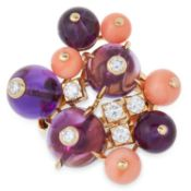 AN AMETHYST CORAL AND DIAMOND DELICE DE GOA RING, CARTIER set with a cluster of polished coral and