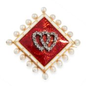 AN ANTIQUE DIAMOND, PEARL AND ENAMEL SWEETHEART BROOCH, LATE 19TH CENTURY in high carat yellow