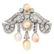 A NATURAL PEARL AND DIAMOND BROOCH, EARLY 20TH CENTURY in 18ct white gold, formed of scrolling