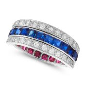AN ART DECO SAPPHIRE, RUBY AND DIAMOND REVERSIBLE RING the central eternity band half set each