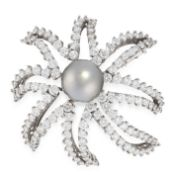 A PEARL AND DIAMOND FIREWORKS BROOCH, TIFFANY & CO 1994 in platinum, designed as a firework spray