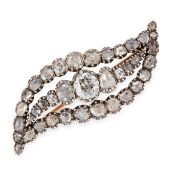 AN ANTIQUE DIAMOND BROOCH, 19TH CENTURY in yellow gold and silver, designed as an eye, jewelled with