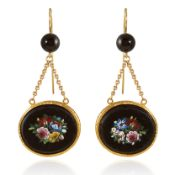A PAIR OF ANTIQUE MICROMOSAIC AND ONYX EARRINGS, 19TH CENTURY each comprising of a polished onyx