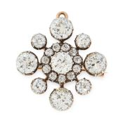 AN ANTIQUE DIAMOND BROOCH / PENDANT, 19TH CENTURY in high carat yellow gold and silver, set with a