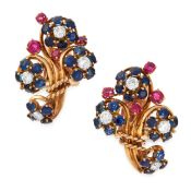 A PAIR OF DIAMOND, RUBY AND SAPPHIRE CLIP EARRINGS, BOUCHERON in 18ct yellow gold, designed as
