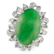 A JADEITE JADE AND DIAMOND RING CLUSTER RING comprising of an oval jadeite cabochon, in an