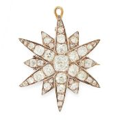 AN ANTIQUE DIAMOND STAR PENDANT / BROOCH, 19TH CENTURY in yellow gold and silver, designed as a