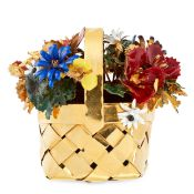 AN ENAMEL GILT FLOWER BASKET, CARTIER 1971 in sterling silver, the gilt woven basket with an array