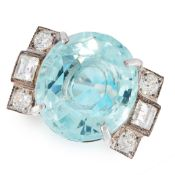 AN AQUAMARINE AND DIAMOND DRESS RING set with an oval cut aquamarine of 8.29 carats, the shoulders
