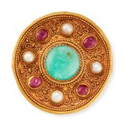 AN EXCEPTIONAL ANTIQUE EMERALD, RUBY AND PEARL BROOCH, JULES & LOUIS WIESE EARLY 20TH CENTURY in