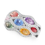 A MULTI COLOUR SAPPHIRE AND DIAMOND RING, WASKOLL in 18ct white gold, the bombe face is set oval cut