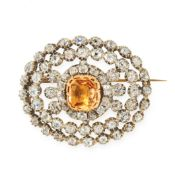 AN ANTIQUE IMPERIAL TOPAZ AND DIAMOND BROOCH, 19TH CENTURY in yellow gold and silver, set with a