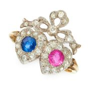 A SAPPHIRE, RUBY AND DIAMOND SWEETHEART RING in 18ct yellow gold, set with a round cut sapphire of