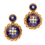A PAIR OF ANTIQUE DIAMOND AND ENAMEL EARRINGS, 19TH CENTURY in yellow gold, each of circular design,