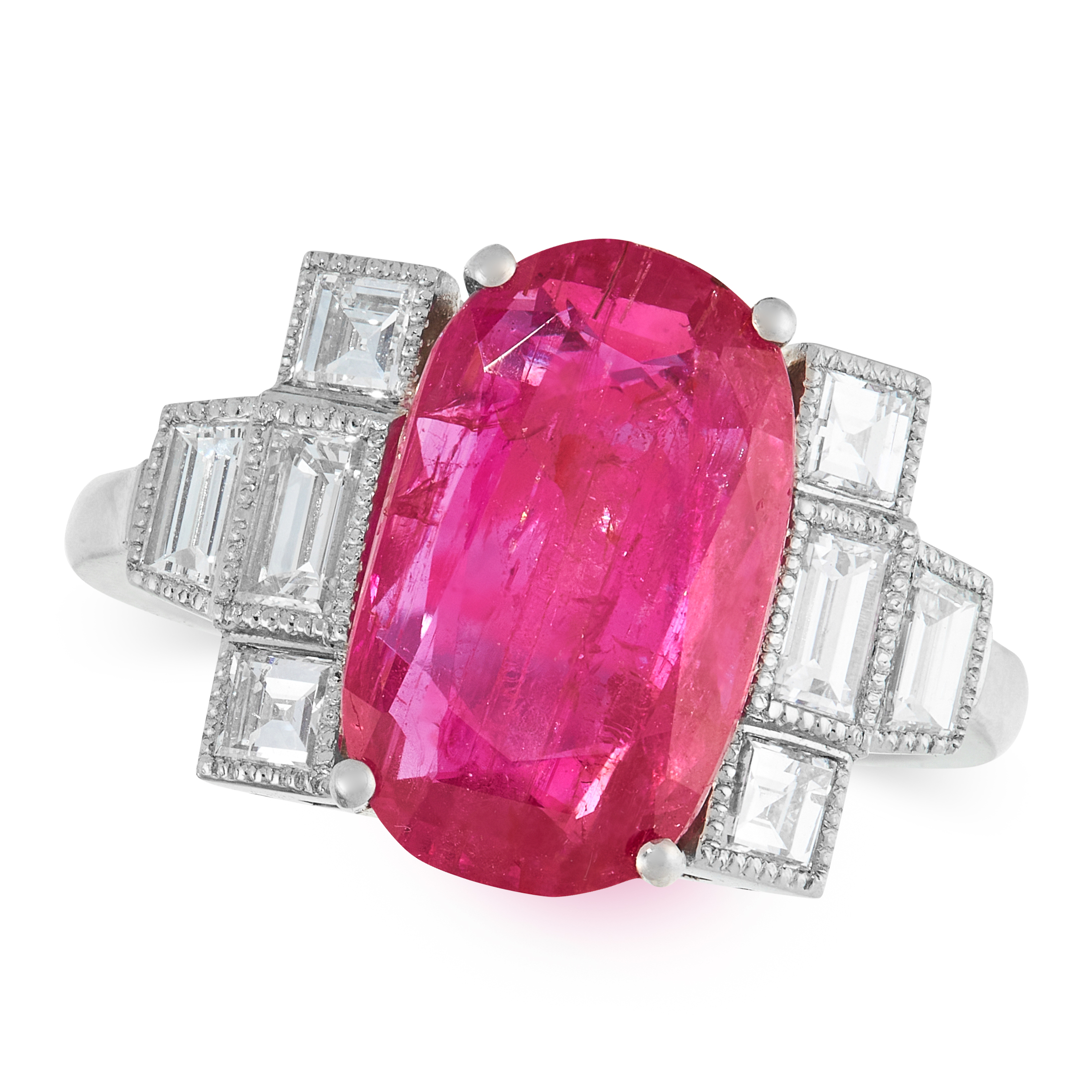 A BURMA NO HEAT RUBY AND DIAMOND RING set with a cushion cut ruby of 5.28 carats, flanked by step