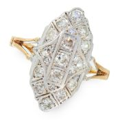 A DIAMOND DRESS RING in 18ct yellow gold and silver, the navette shaped face set with round cut