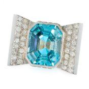 A RETRO BLUE ZIRCON AND DIAMOND COCKTAIL RING, CIRCA 1940 set with an emerald cut blue zircon of
