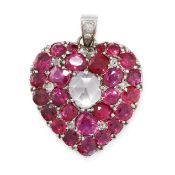 AN ANTIQUE RUBY AND DIAMOND HEART MOURNING LOCKET PENDANT in yellow gold and silver, the shape of