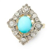 AN ANTIQUE TURQUOISE AND DIAMOND DRESS RING in yellow gold and silver, set with an oval cabochon