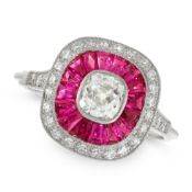 A DIAMOND AND RUBY DRESS RING in platinum, of target design, set with an old cut diamond of 0.58