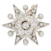 AN ANTIQUE DIAMOND STAR BROOCH / PENDANT, 19TH CENTURY in high carat yellow gold and silver,