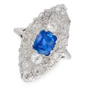 A SAPPHIRE AND DIAMOND DRESS RING in platinum, the navette shaped face set with a central cushion