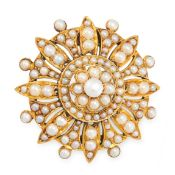 AN ANTIQUE PEARL BROOCH in yellow gold, the circular star burst design set allover with pearls,