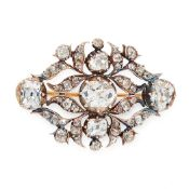 AN ANTIQUE DIAMOND BROOCH, EARLY 19TH CENTURY in yellow gold and silver, set with a principal