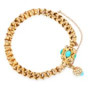 AN ANTIQUE TURQUOISE AND PEARL FANCY LINK BRACELET, 19TH CENTURY in high carat yellow gold, the