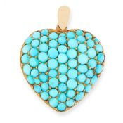 AN ANTIQUE TURQUOISE HEART MOURNING LOCKET PENDANT, 19TH CENTURY in high carat yellow gold, in the