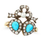 AN ANTIQUE TURQUOISE, DIAMOND AND PEARL SWEETHEART RING, 19TH CENTURY in yellow gold and silver,