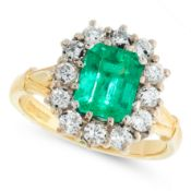 AN EMERALD AND DIAMOND DRESS RING in 18ct yellow gold, set with an emerald cut emerald of 1.80
