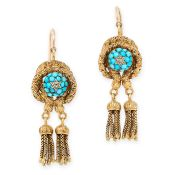 A PAIR OF ANTIQUE TURQUOISE AND DIAMOND SNAKE EARRINGS, 19TH CENTURY in yellow gold, each with a