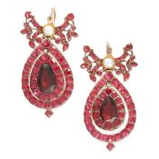 A PAIR OF ANTIQUE GARNET AND PEARL EARRINGS, SPANISH EARLY 19TH CENTURY in yellow gold, each set