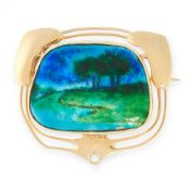 AN ART NOUVEAU ENAMEL BROOCH, MURRLE BENNETT EARLY 20TH CENTURY in 15ct yellow gold, the cushion