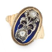 AN ANTIQUE DIAMOND AND BLUE GLASS DRESS RING, 19TH CENTURY in yellow gold and silver, the oval
