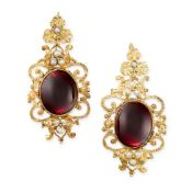 A PAIR OF ANTIQUE GARNET AND PEARL EARRINGS, 19TH CENTURY each set with a large oval cabochon garnet