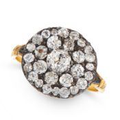 AN ANTIQUE DIAMOND DRESS RING, CIRCA 1800 in yellow gold and silver, the circular face set with a