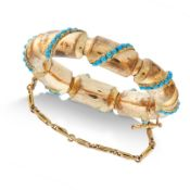 AN ANTIQUE ARTICULATED TURQUOISE BANGLE, 19TH CENTURY formed of eight tubular links set with rows of