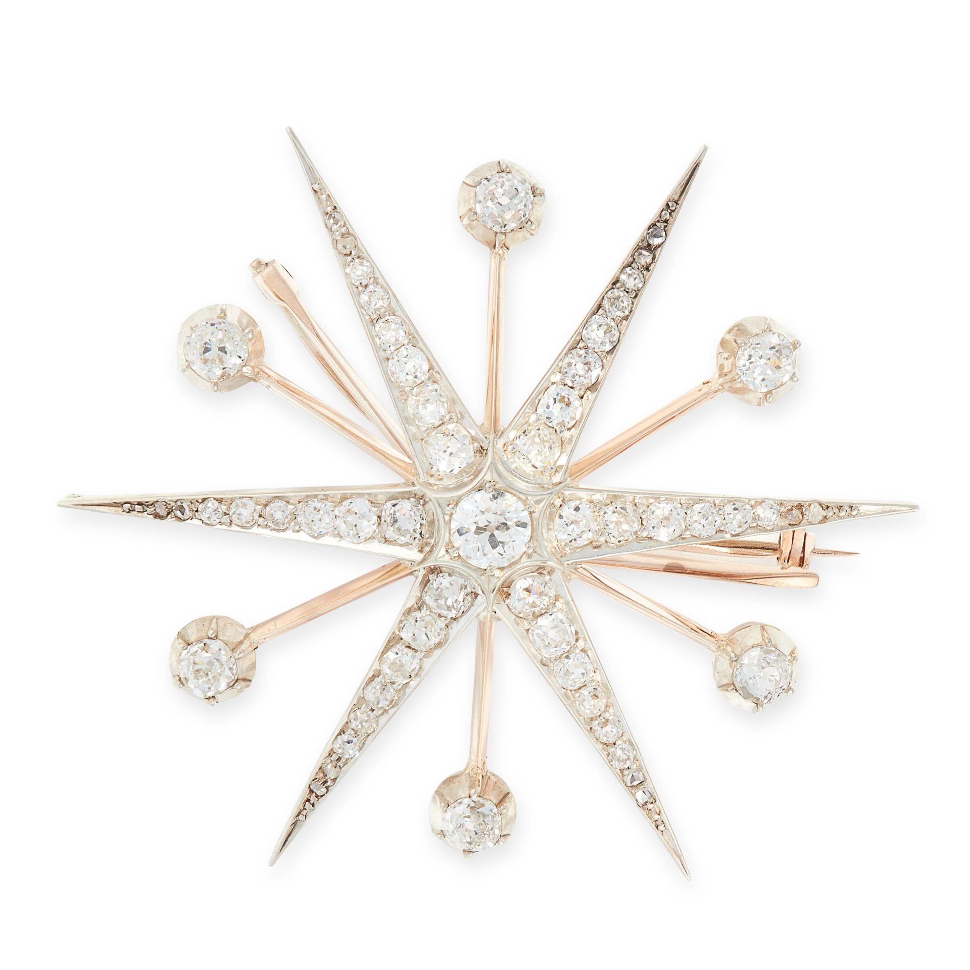 AN ANTIQUE DIAMOND STAR BROOCH in high carat yellow gold, designed as a six armed star, set at the