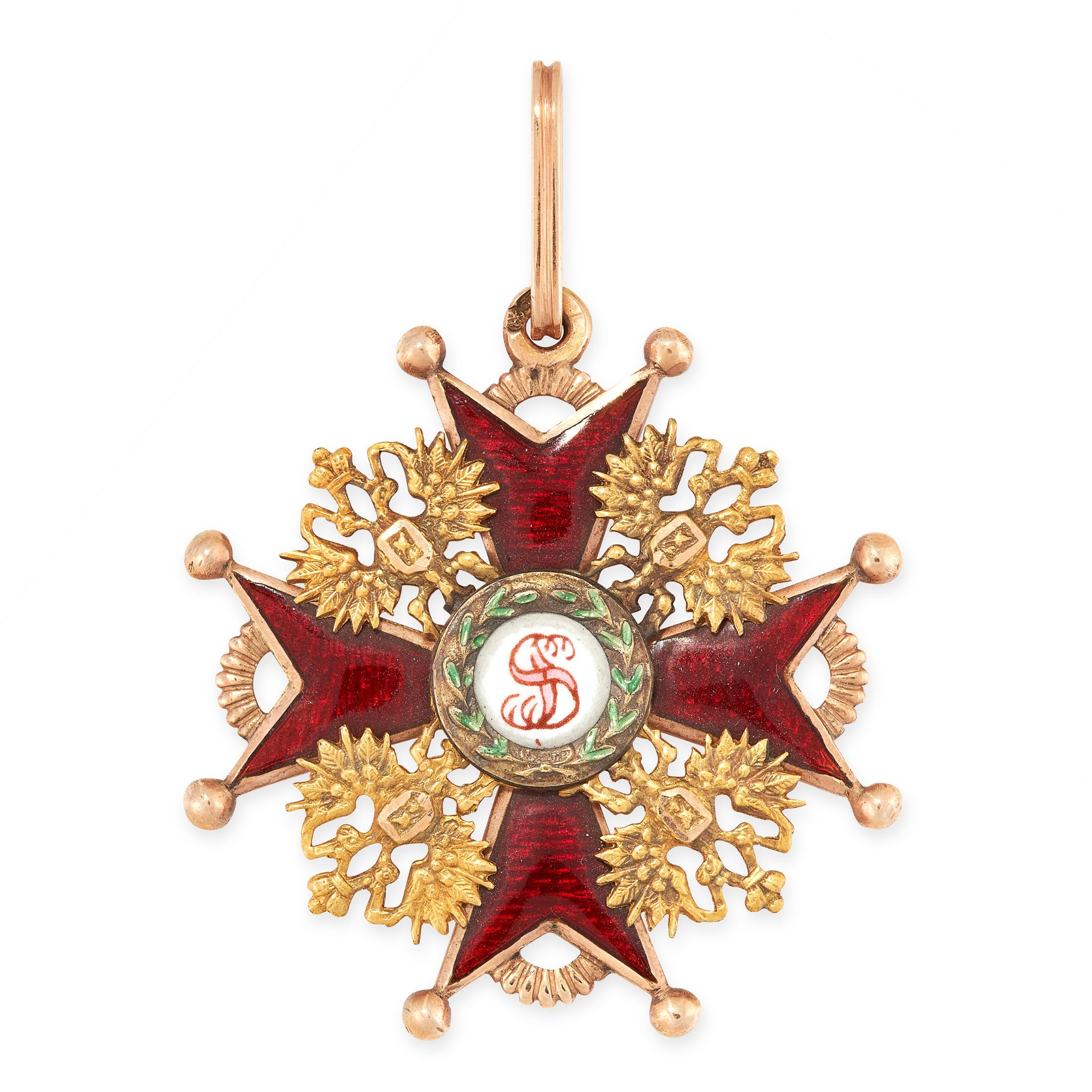 AN ANTIQUE IMPERIAL RUSSIAN ENAMEL ORDER OF ST STANISLAS MEDAL in 56 zolotnik gold, of the third